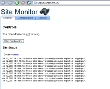 ruby site monitor interface