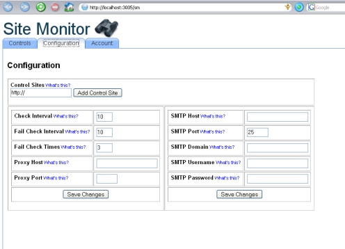 site monitor control panel